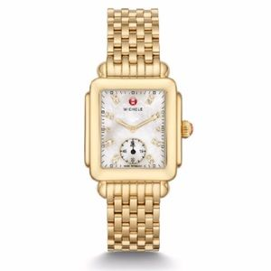 Michele Deco Mid Gold, Diamond Dial Watch